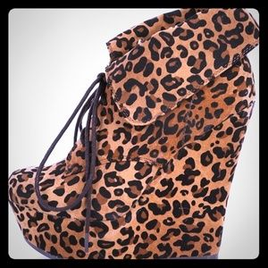 Breckelles Cheetah Wedge Boots